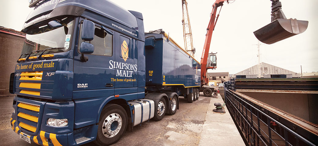 Simpsons Malt truck being loaded