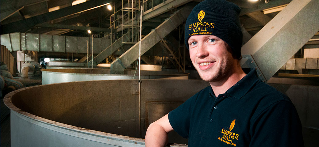 Simpsons Malt employee within plant