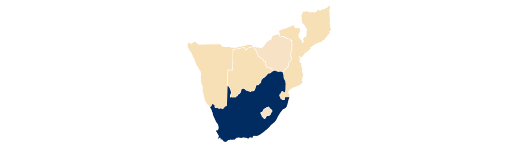 Map of southern Africa with South Africa highlighted