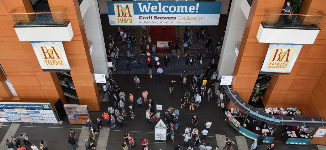 Arial short of people entering craft brewers conference 2017